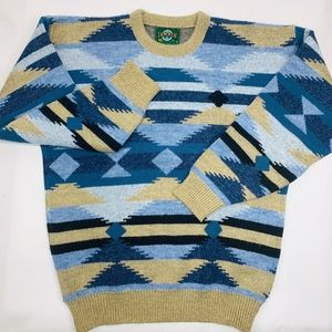 Jantzen Mens Vintage Sweater Blue Beige Large